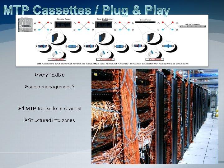Øvery flexible Øcable management ? Ø 1 MTP trunks for 6 channel ØStructured into