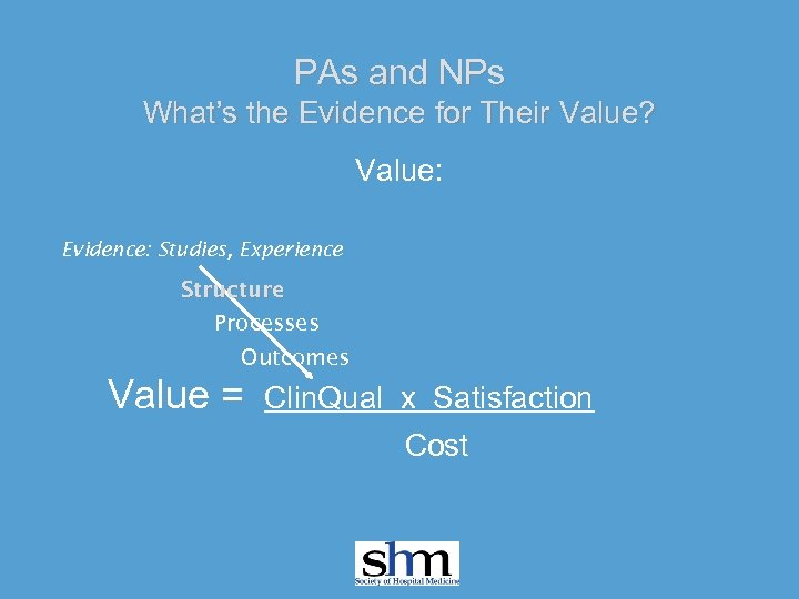 PAs and NPs What's the Evidence for Their Value? Value: Evidence: Studies, Experience Structure
