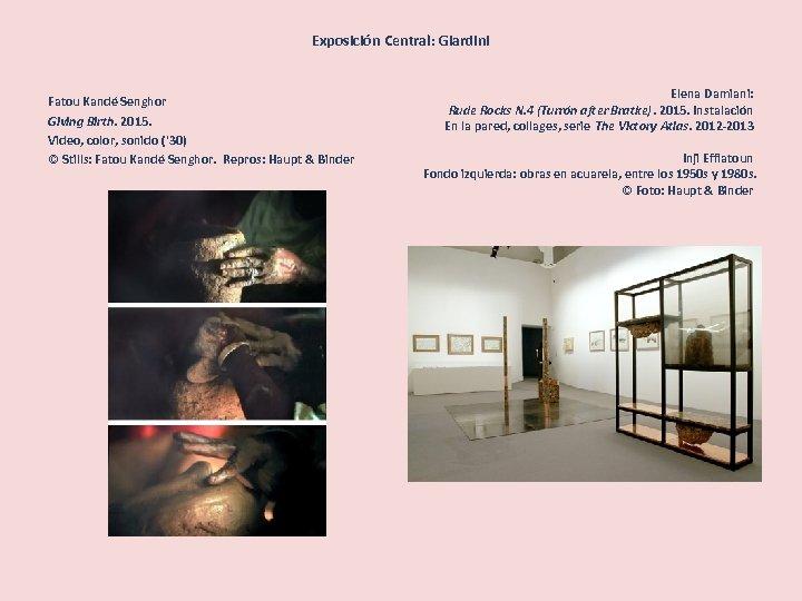 Exposición Central: Giardini Fatou Kandé Senghor Giving Birth. 2015. Video, color, sonido ('30) ©