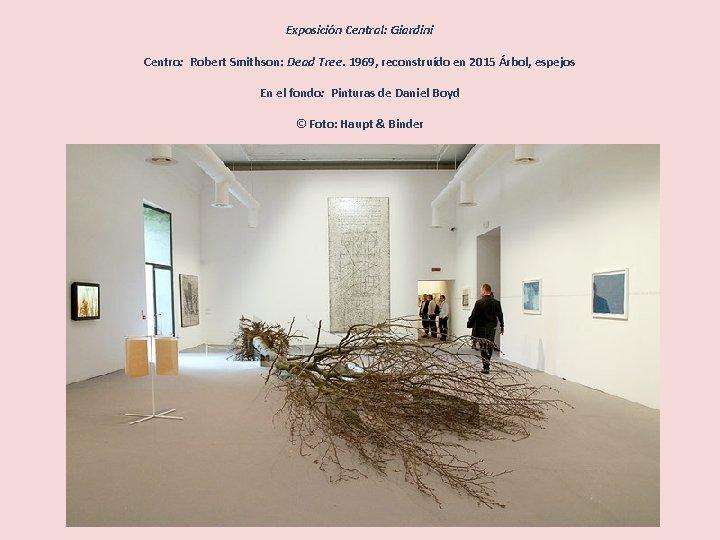 Exposición Central: Giardini Centro: Robert Smithson: Dead Tree. 1969, reconstruído en 2015 Árbol, espejos