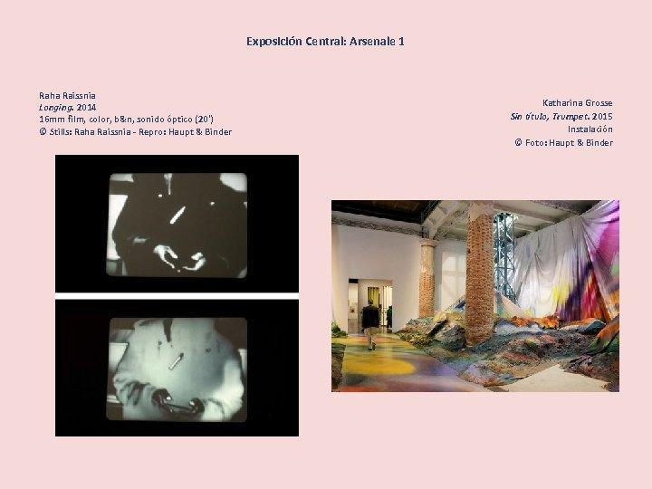 Exposición Central: Arsenale 1 Raha Raissnia Longing. 2014 16 mm film, color, b&n, sonido
