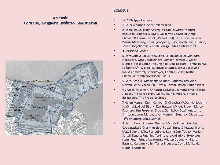 CORDERIE Arsenale Corderie, Artiglierie, Isolotto, Sale d'Armi • • • 1 -11 Philippe Parreno