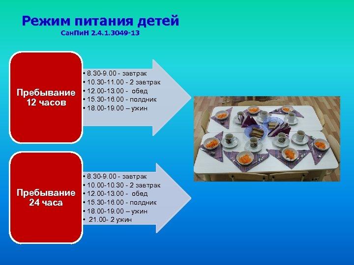 Режим питания детей Сан. Пи. Н 2. 4. 1. 3049 -13 Пребывание 12 часов