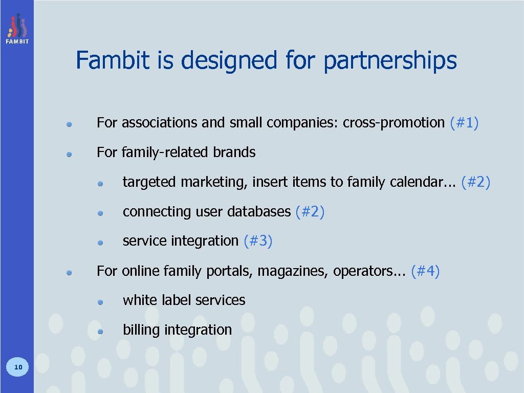 Fambit is designed for partnerships For associations and small companies: cross-promotion (#1) For family-related