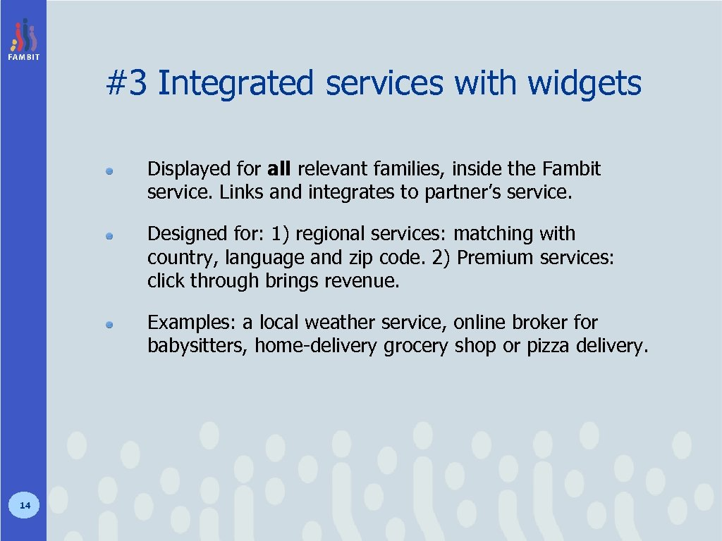 #3 Integrated services with widgets Displayed for all relevant families, inside the Fambit service.