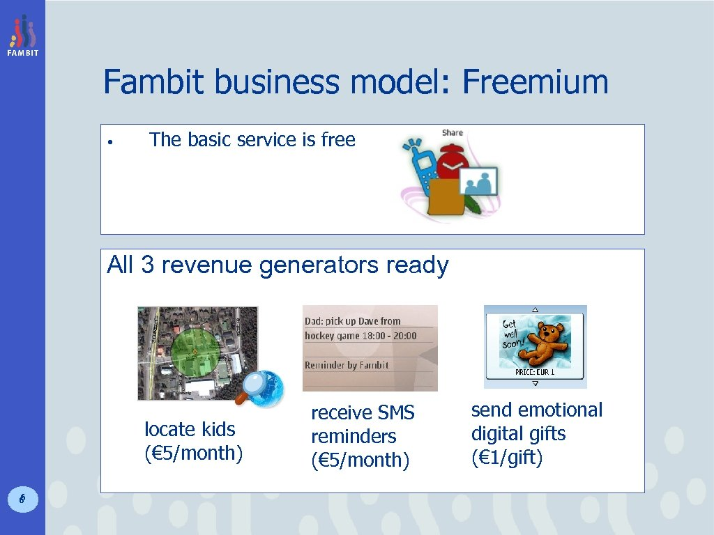 Fambit business model: Freemium • The basic service is free All 3 revenue generators