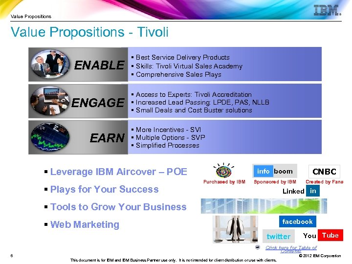 Value Propositions - Tivoli ENABLE ENGAGE EARN § Best Service Delivery Products § Skills: