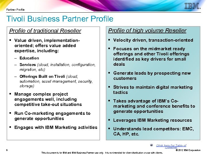 Partner Profile Tivoli Business Partner Profile of traditional Reseller Profile of high volume Reseller