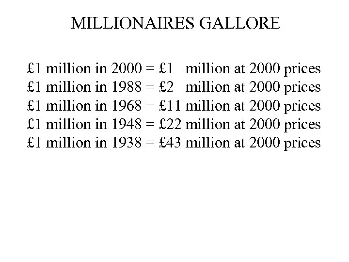 MILLIONAIRES GALLORE £ 1 million in 2000 = £ 1 million at 2000 prices