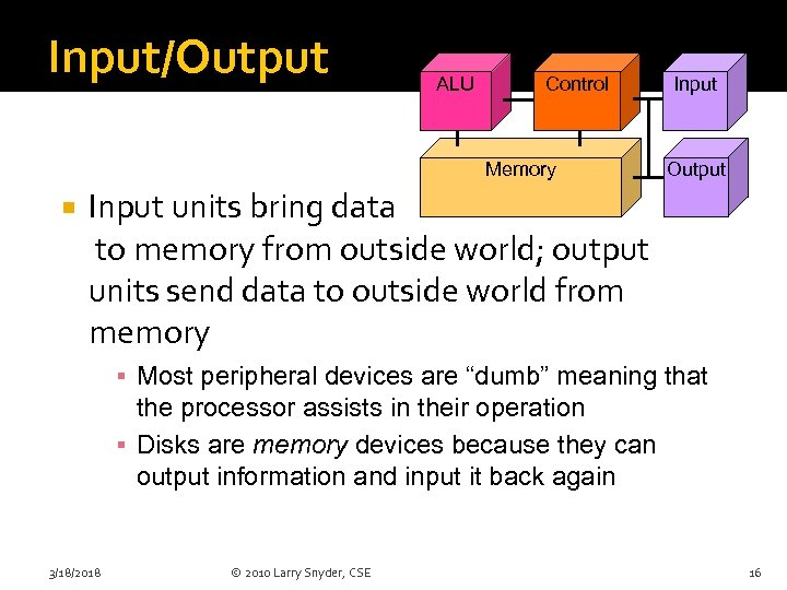 Input/Output ALU Control Memory Input Output Input units bring data to memory from outside