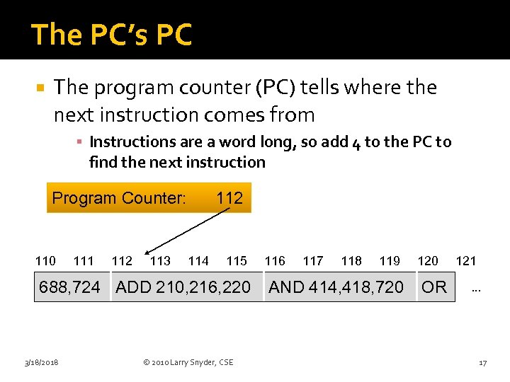 The PC's PC The program counter (PC) tells where the next instruction comes from