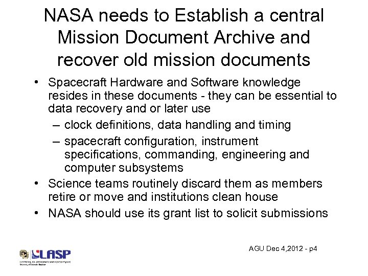NASA needs to Establish a central Mission Document Archive and recover old mission documents
