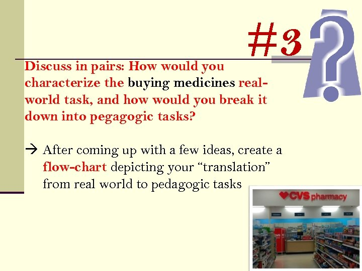 #3 Discuss in pairs: How would you characterize the buying medicines realworld task, and