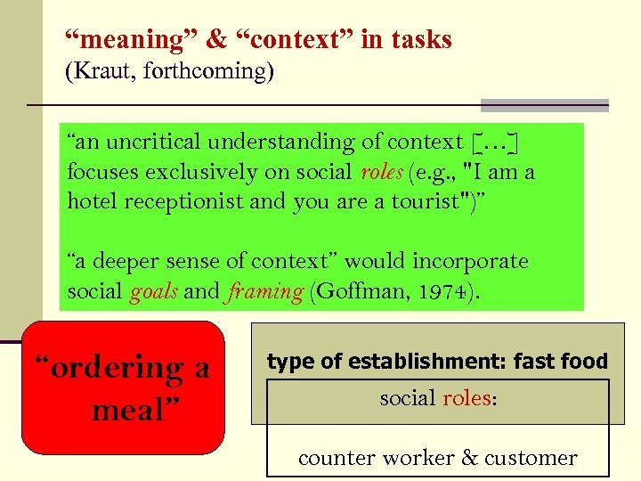 """meaning"" & ""context"" in tasks (Kraut, forthcoming) ""an uncritical understanding of context […] focuses"