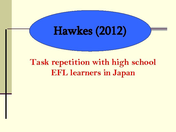 Hawkes (2012) Task repetition with high school EFL learners in Japan