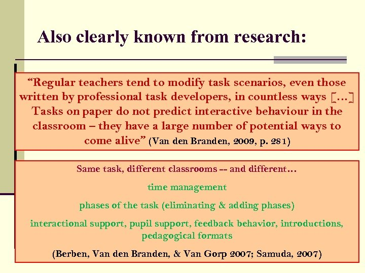 "Also clearly known from research: ""Regular teachers tend to modify task scenarios, even those"