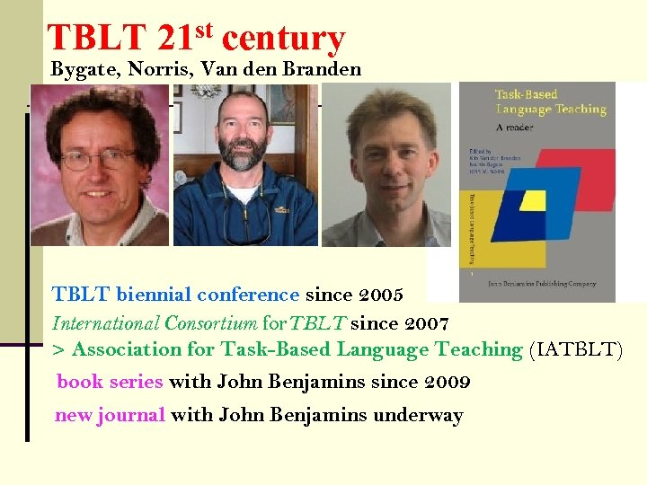 TBLT 21 st century Bygate, Norris, Van den Branden TBLT biennial conference since 2005