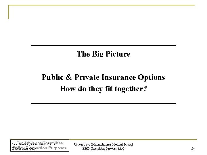 The Big Picture Public & Private Insurance Options How do they fit together? For
