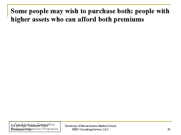 Some people may wish to purchase both: people with higher assets who can afford
