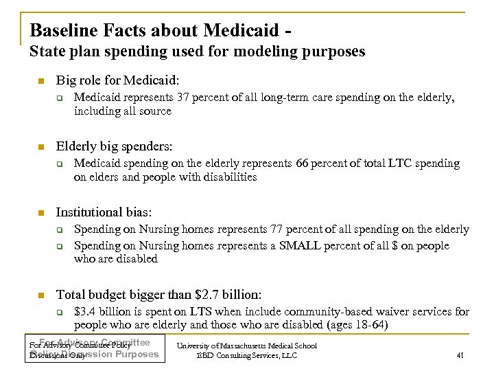 Baseline Facts about Medicaid State plan spending used for modeling purposes n Big role