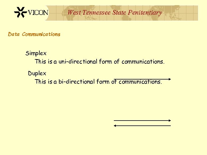 West Tennessee State Penitentiary Data Communications Simplex This is a uni-directional form of communications.