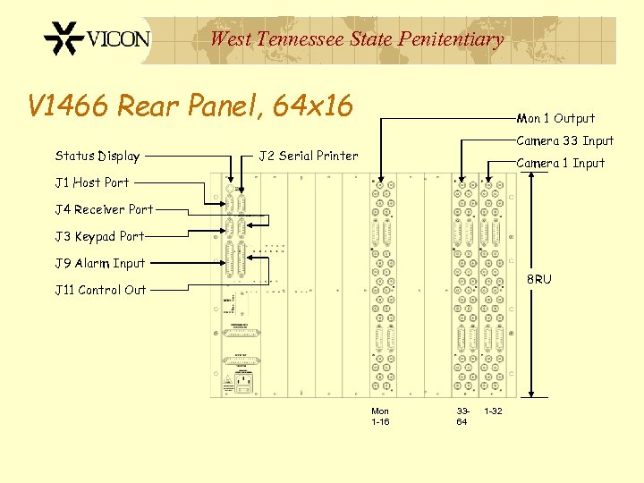 West Tennessee State Penitentiary V 1466 Rear Panel, 64 x 16 Status Display Mon