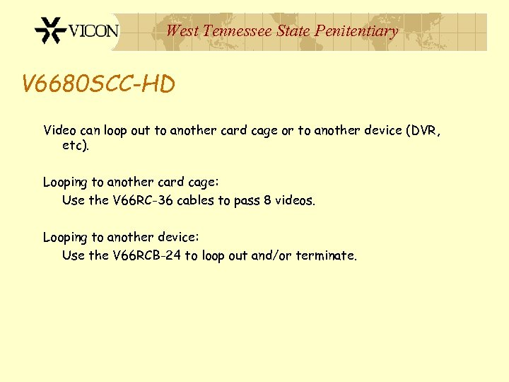 West Tennessee State Penitentiary V 6680 SCC-HD Video can loop out to another card