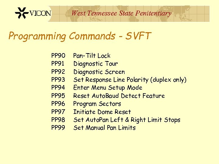 West Tennessee State Penitentiary Programming Commands - SVFT PP 90 PP 91 PP 92