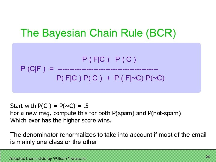 The Bayesian Chain Rule (BCR) P ( F C ) P (C F ) = ---------------------P(