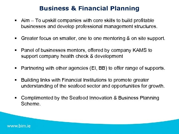 Business & Financial Planning § Aim – To upskill companies with core skills to