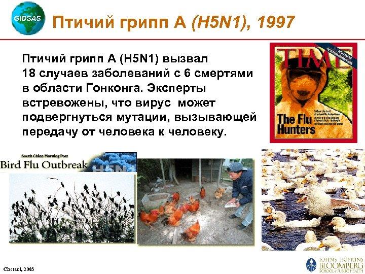 GIDSAS Птичий грипп А (H 5 N 1), 1997 Птичий грипп А (H 5