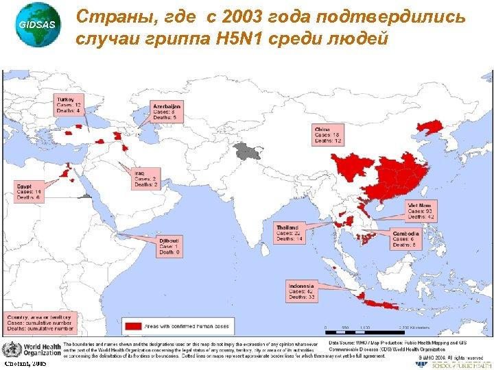 GIDSAS Chotani, 2005 Страны, где с 2003 года подтвердились случаи гриппа H 5 N