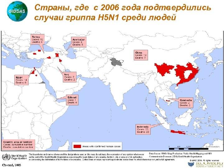 GIDSAS Chotani, 2005 Страны, где с 2006 года подтвердились случаи гриппа H 5 N