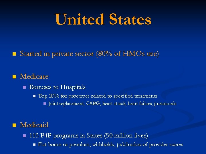 United States n Started in private sector (80% of HMOs use) n Medicare n