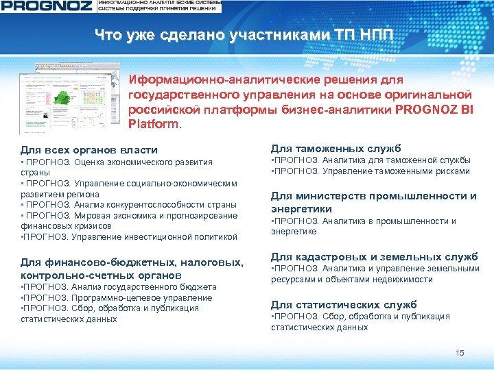 Что уже сделано участниками ТП НПП Иформационно-аналитические решения для государственного управления на основе оригинальной