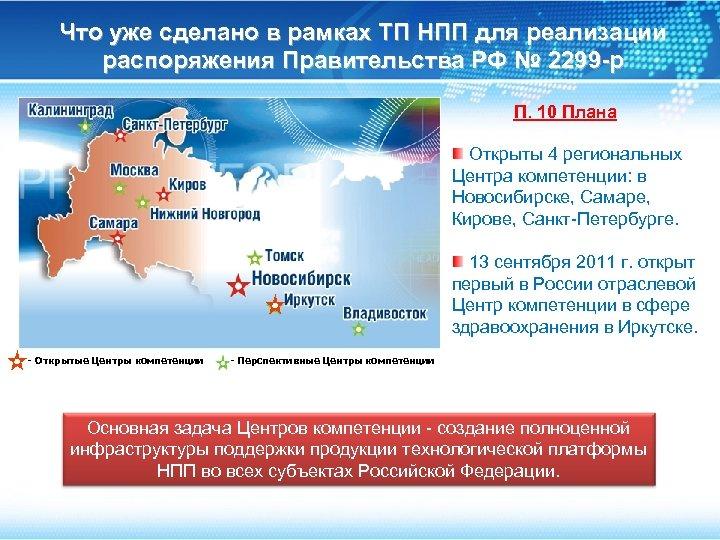 Что уже сделано в рамках ТП НПП для реализации распоряжения Правительства РФ № 2299