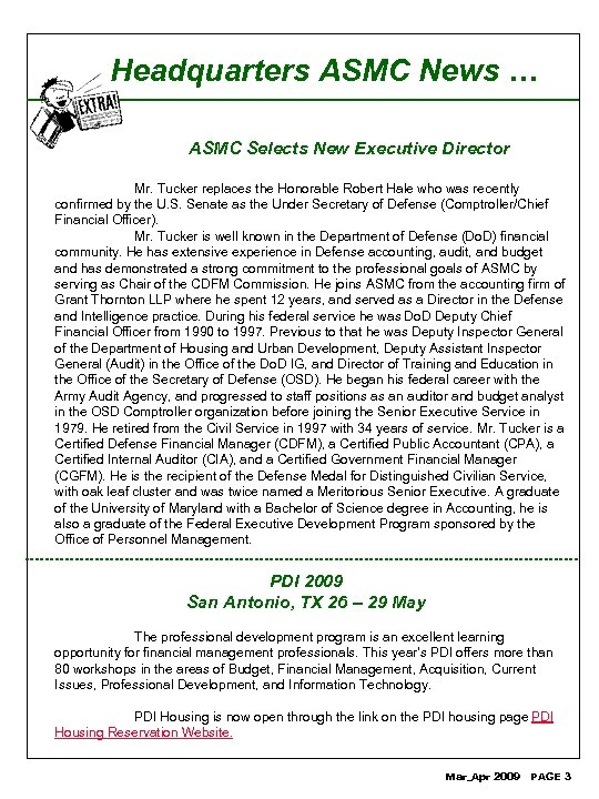Headquarters ASMC News … ASMC Selects New Executive Director Mr. Tucker replaces the