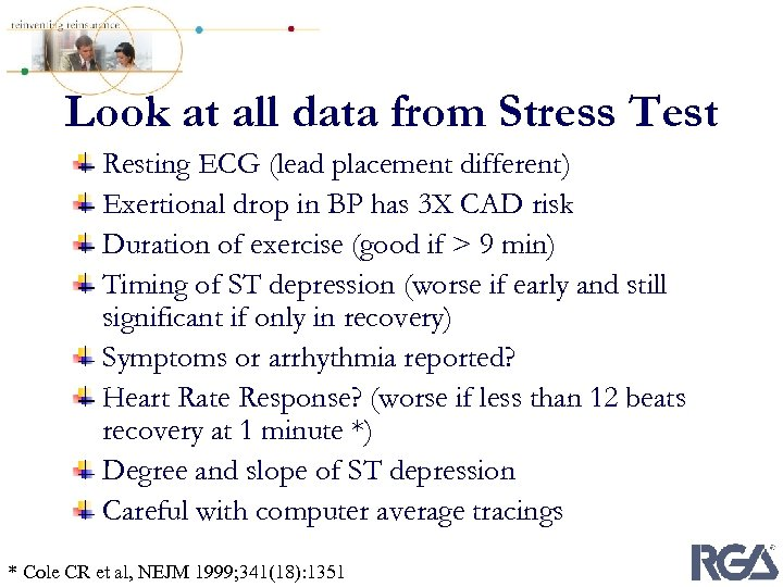 Look at all data from Stress Test Resting ECG (lead placement different) Exertional drop