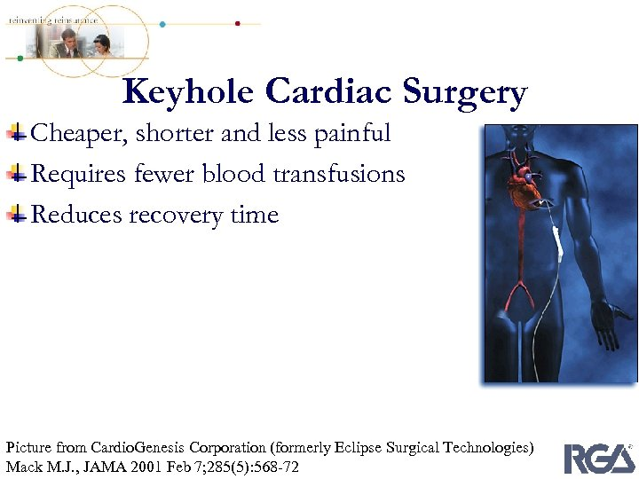 Keyhole Cardiac Surgery Cheaper, shorter and less painful Requires fewer blood transfusions Reduces recovery
