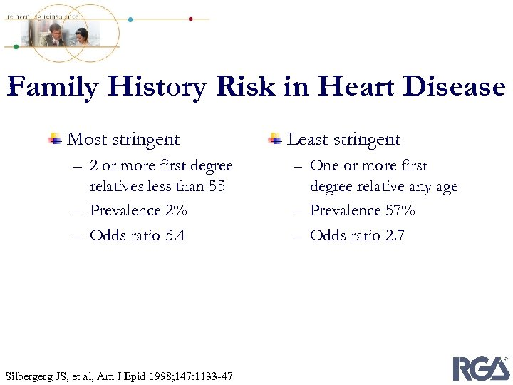 Family History Risk in Heart Disease Most stringent – 2 or more first degree
