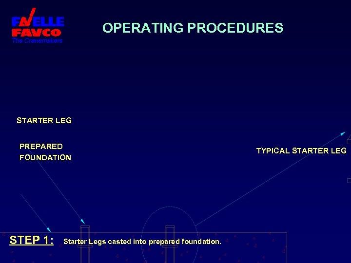 OPERATING PROCEDURES STARTER LEG PREPARED FOUNDATION STEP 1: Starter Legs casted into prepared foundation.