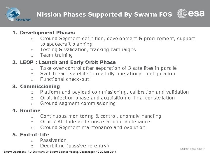 Mission Phases Supported By Swarm FOS 1. Development Phases o Ground Segment definition, development