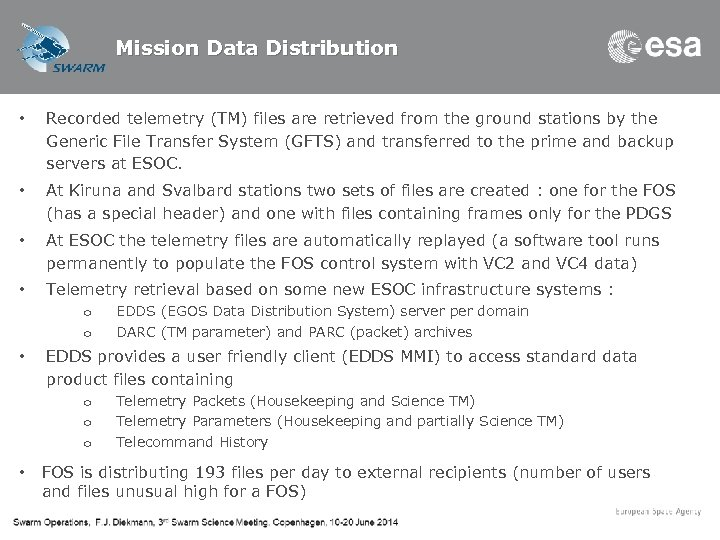 Mission Data Distribution • Recorded telemetry (TM) files are retrieved from the ground stations