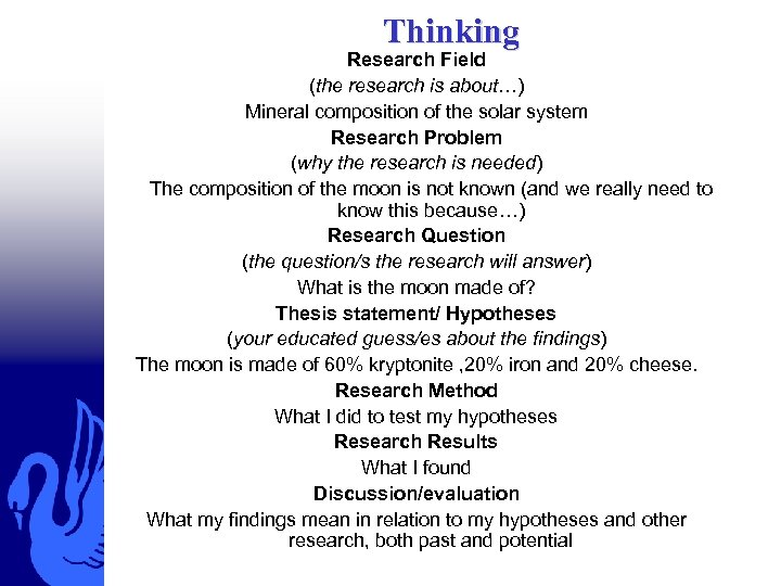 Thinking Research Field (the research is about…) Mineral composition of the solar system Research
