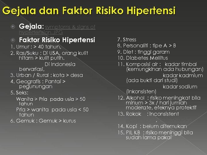 Gejala dan Faktor Risiko Hipertensi Gejala: symptoms & signs of Faktor Risiko Hipertensi hypertension.