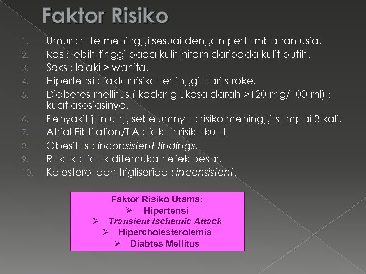 Faktor Risiko 1. 2. 3. 4. 5. 6. 7. 8. 9. 10. Umur :