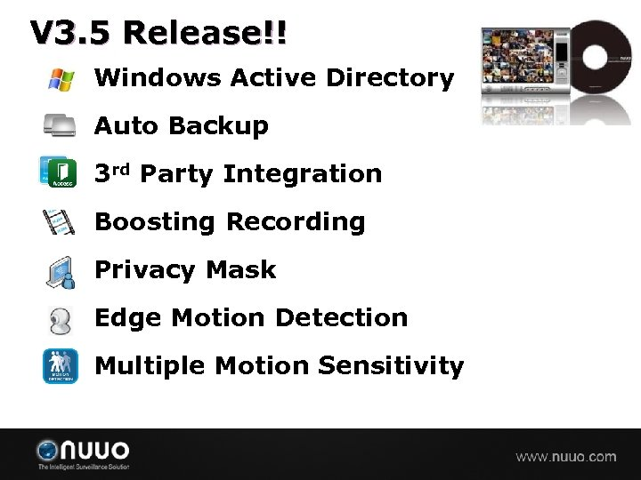 V 3. 5 Release!! Windows Active Directory Auto Backup 3 rd Party Integration Boosting