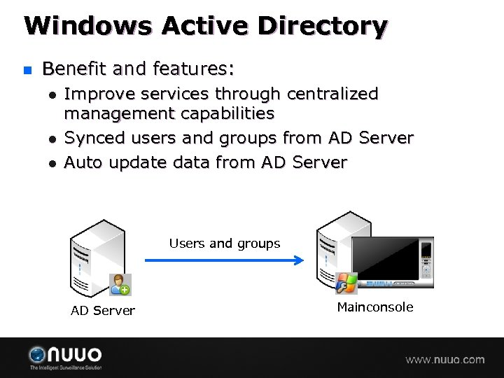 Windows Active Directory n Benefit and features: l l l Improve services through centralized