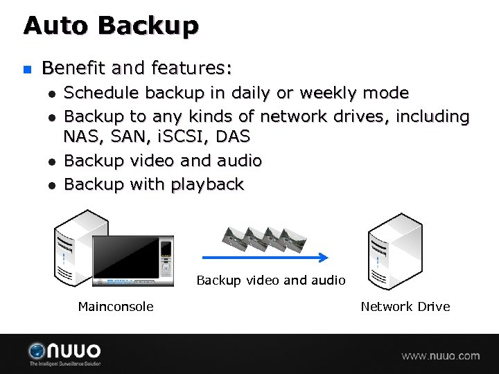 Auto Backup n Benefit and features: l l Schedule backup in daily or weekly