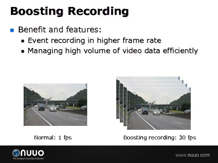 Boosting Recording n Benefit and features: l l Event recording in higher frame rate